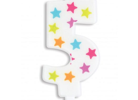 Bougie chiffre 5 à étoiles multicolores -Scrapcooking Party