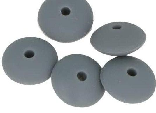 5 perles cabochons en silicone 12x7mm - gris - Artemio