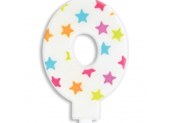 Bougie chiffre 0 à étoiles multicolores -Scrapcooking Party