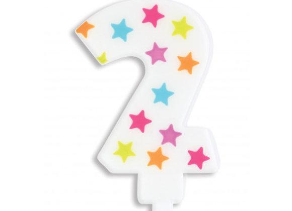 Bougie chiffre 2 à étoiles multicolores -Scrapcooking Party