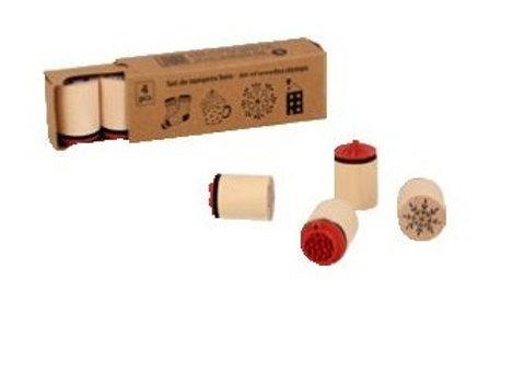 Set de 4 tampons bois Cosy Christmas  10004389- Artemio