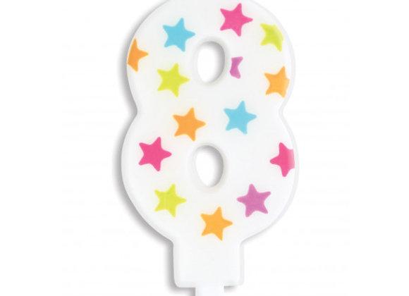 Bougie chiffre 8 à étoiles multicolores -Scrapcooking Party