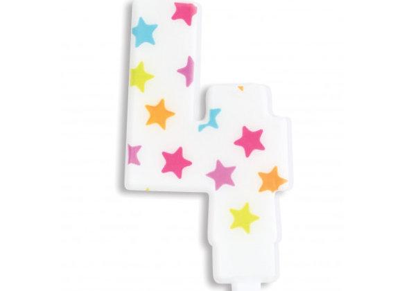 Bougie chiffre 4 à étoiles multicolores -Scrapcooking Party