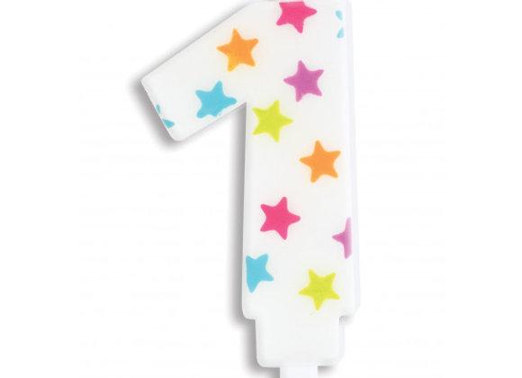 Bougie chiffre 1 à étoiles multicolores -Scrapcooking Party