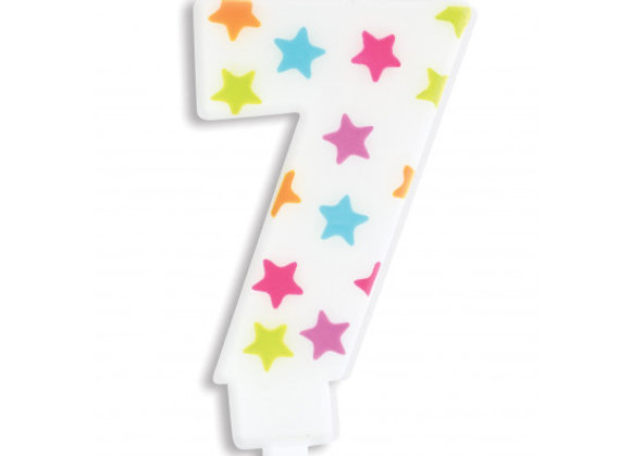 Bougie chiffre 7 à étoiles multicolores -Scrapcooking Party