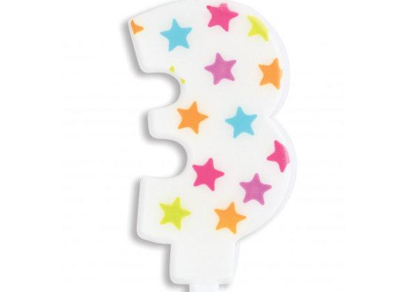 Bougie chiffre 3 à étoiles multicolores -Scrapcooking Party