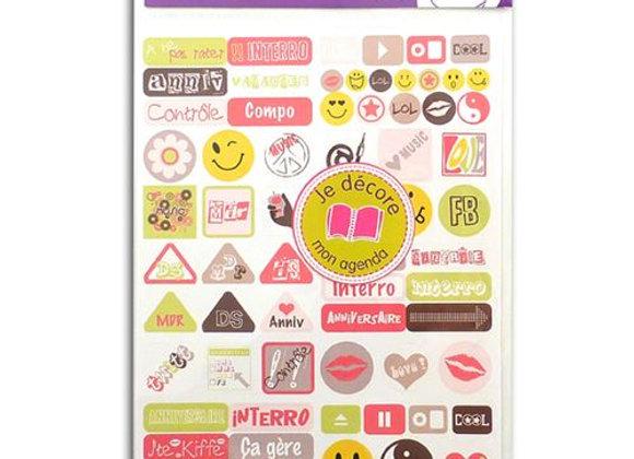 """2 planches de stickers cahier de texte """"Love""""- Toga- STR03"""