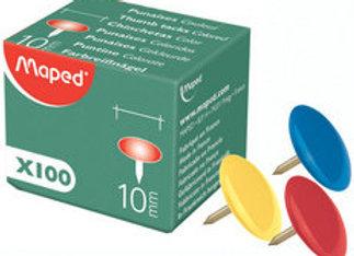 Boîte de 100 punaises recouvertes couleurs - Maped