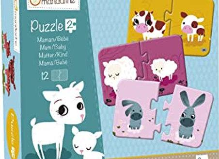Puzzle maman/ bébé animaux - Avenue mandarine