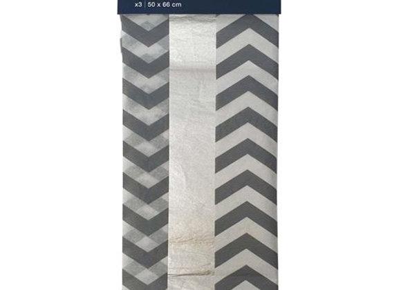 assortiment de feuilles de papier de soie blanc et argent - Draeger