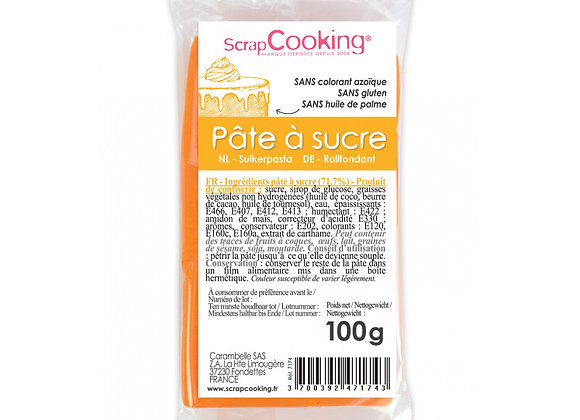 Pâte à sucre orange 100g -Scrapcooking 7174