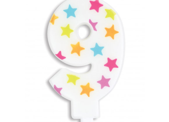Bougie chiffre 9 à étoiles multicolores -Scrapcooking Party