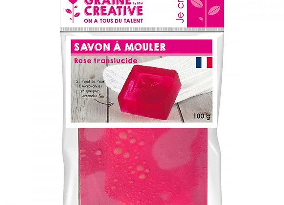 PAIN DE 100G DE SAVON TRANSLUCIDE ROSE A MOULER GRAINE CREATIVE 200343