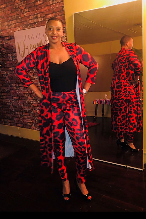Red & Black Cheetah Two-Piece Pants Set
