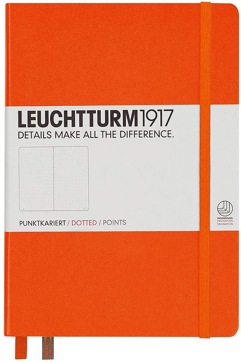 Leuchtturm1917 Medium A5 Dotted Hardcover Notebook (Orange) - 249 Numbered Pages