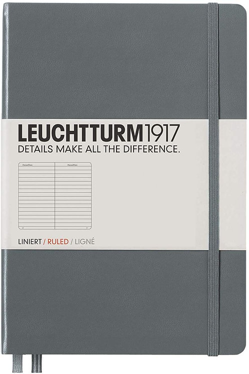 Leuchtturm1917 Hardcover Ruled Pages Notebook, Medium A5 Size, Anthracite