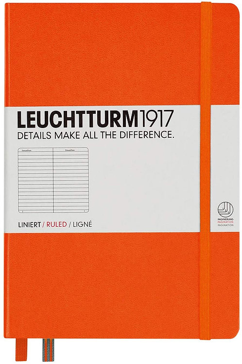 Leuchtturm1917 Medium A5 Ruled Hardcover Notebook (Orange) - 249 Numbered Pages