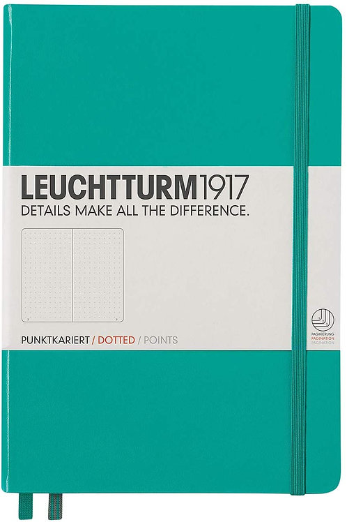 Leuchtturm1917 Medium A5 Dotted Hardcover Notebook (Emerald) - 249 Numbered Page