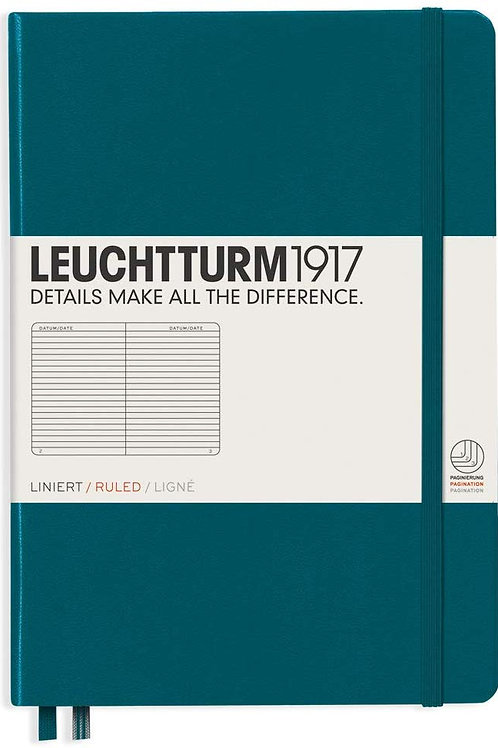Leuchtturm1917 Medium A5 Ruled Hardcover Notebook (Pacific Green) - 249 Numbered