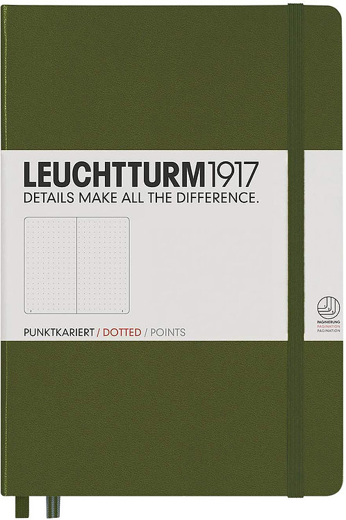Leuchtturm1917 Medium A5 Dotted Hardcover Notebook (Army) - 249 Numbered Pages