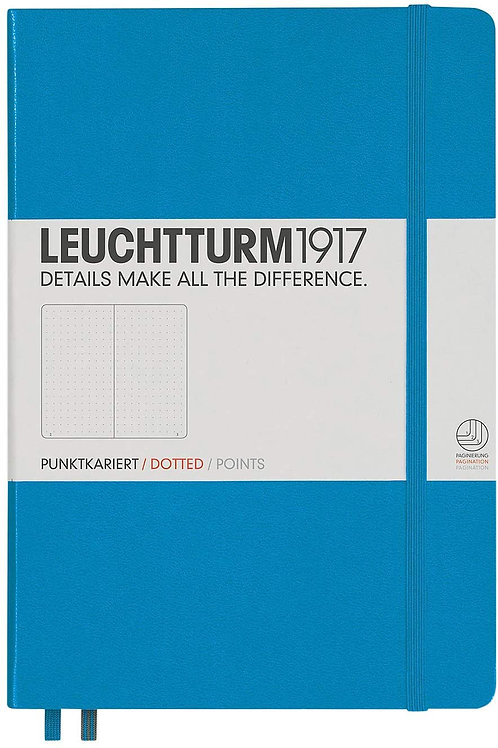 Leuchtturm1917 Medium A5 Dotted Hardcover Notebook (Azure) - 249 Numbered Pages