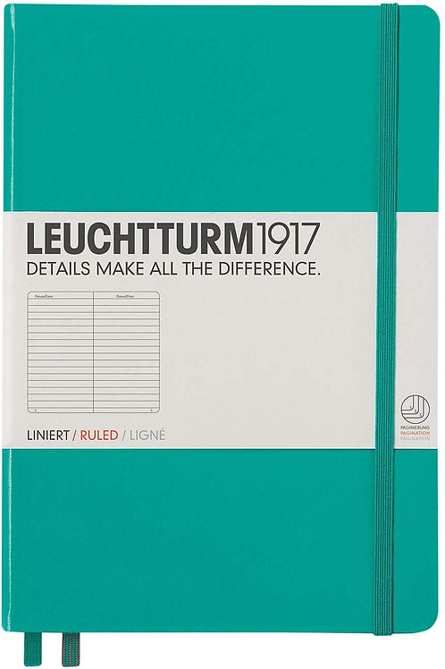 Leuchtturm1917 Medium A5 Ruled Hardcover Notebook (Emerald) - 249 Numbered Pages