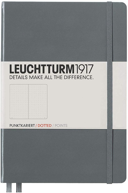 Leuchtturm1917 Medium A5 Dotted Hardcover Notebook (Anthracite) - 249 Numbered P
