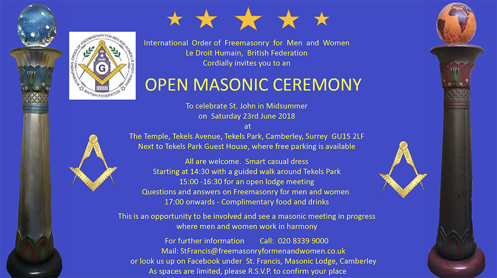 Open Masonic Ceremony. St. John Cemebration in Midsummer