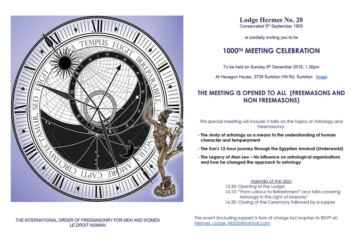 Lodge Hermes no. 20 - 1000th Meeting Celebration