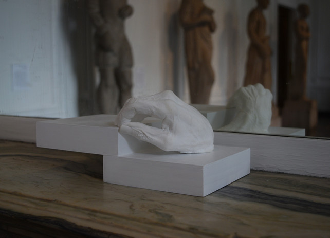 Cast of my Grandmother's Hand Plaster and wood