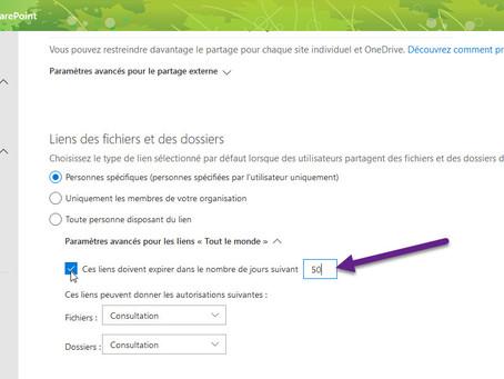 SharePoint : L'expiration des liens anonymes pourra prochainement se définir par site.