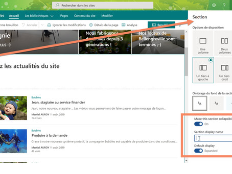 Sections repliables dans les pages SharePoint