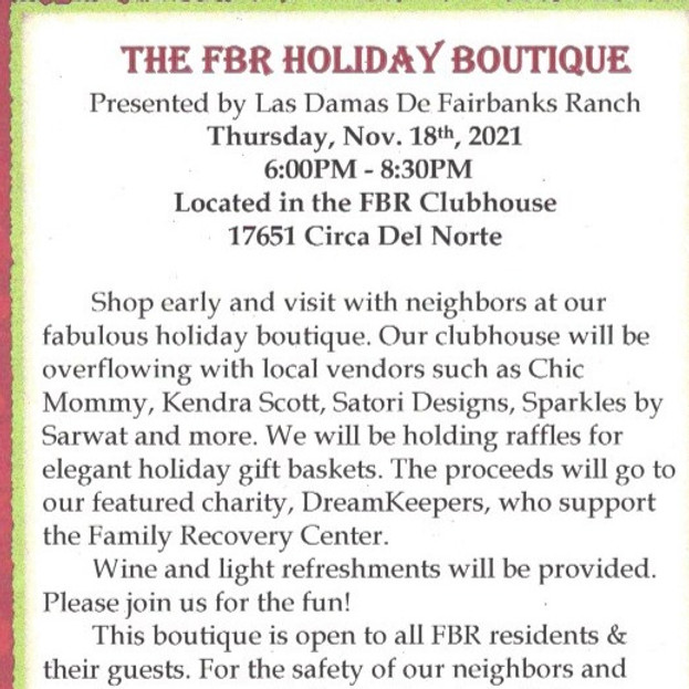 FBR HOLIDAY BOUTIQUE