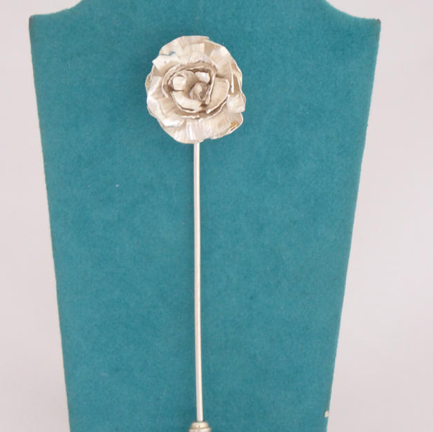 Silver rose lapel pin