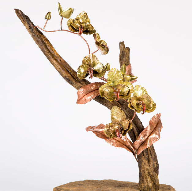 Large brass and copper orchid