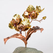 Small brass and copper orchid