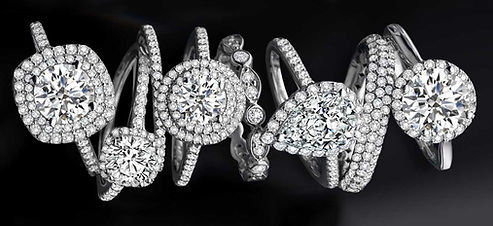 Mossanite Rings Arranged Gemstones