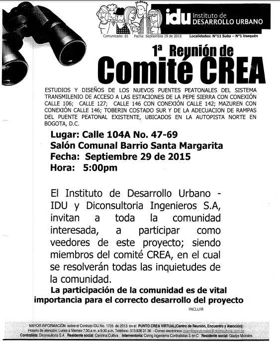 La  administración invita a participar a la comunidad de la 1ra. Reunión de Comité CREA.