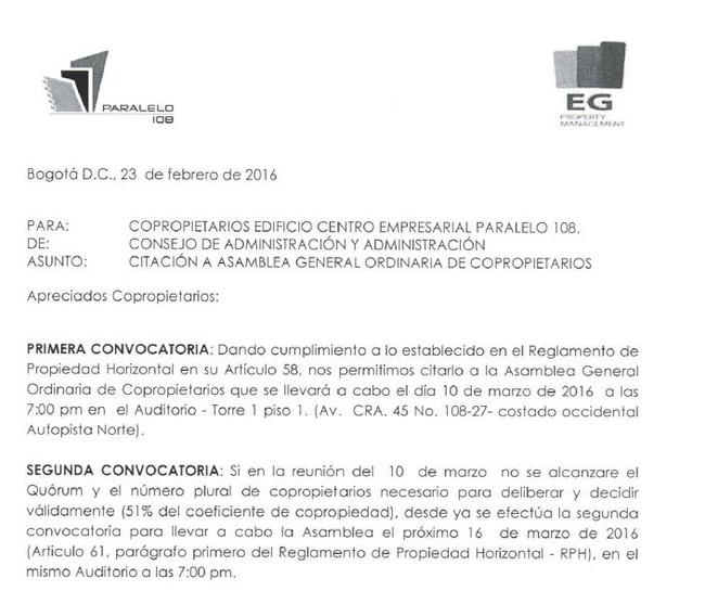 CONVOCATORIA ASAMBLEA GENERAL ORDINARIA 2016