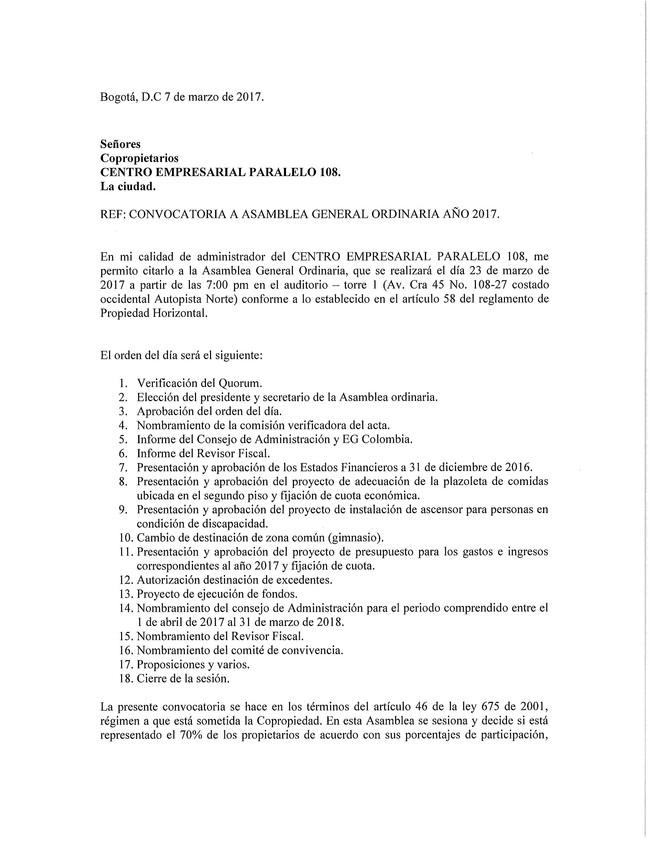 CONVOCATORIA A ASAMBLEA GENERAL ORDINARIA AÑO 2017.