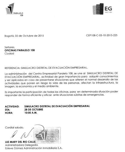 SIMULACRO DISTRITAL DE EVACUACIÓN EMPRESARIAL.