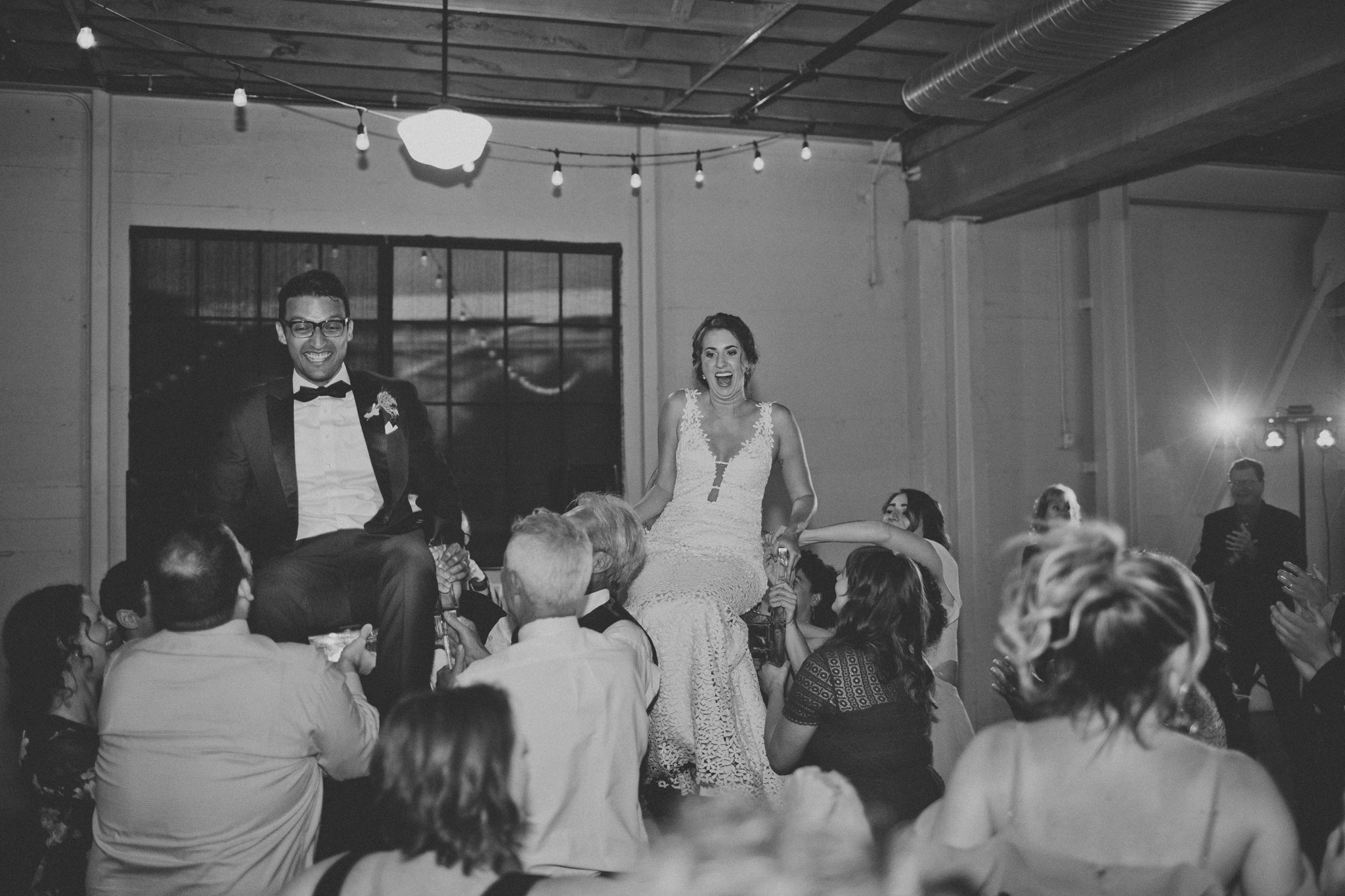 bride and groom chair dancing