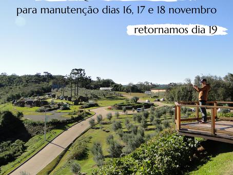 Parque fechado dias 16, 17 e 18 de novembro
