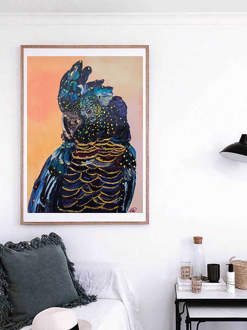 'Priscilla' Black Cockatoo Print