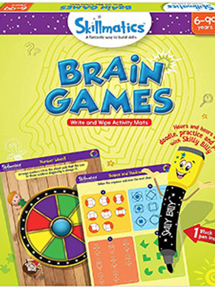 Skillmatics: Brain Games (Write & Wipe Activity Mats) (6-99 Years)