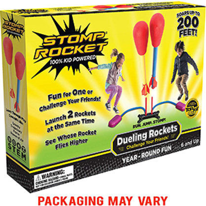 Stomp Rocket Dueling Rockets, 4 Rockets and Rocket Launcher – Soars up to 200 fe