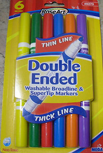 RoseArt Thin Line Double Ended Washable Broadline & SuperTip Markers (6)