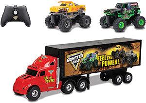 New Bright Monster Jam Hauler with Two Mini Monster Jam Trucks