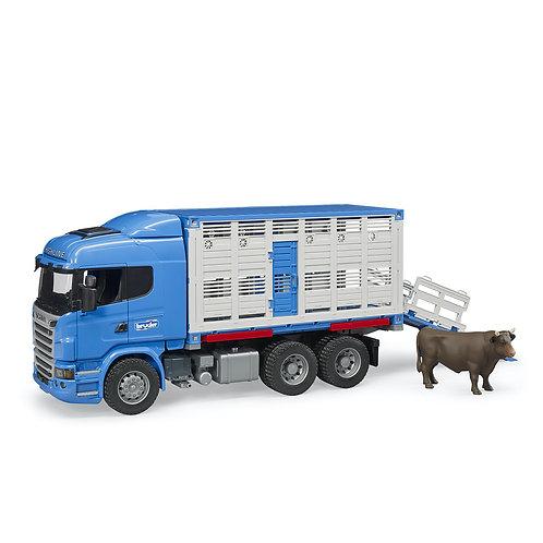 Bruder Scania R-Series Cattle Transporter Truck w/ 1 Cattle