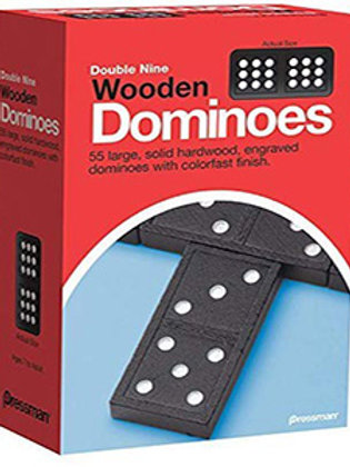 Double Nine Wooden Dominoes (55 Pieces) Pressman Toys